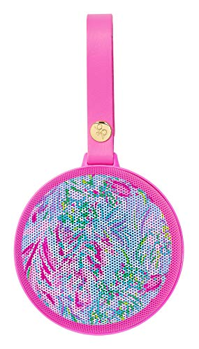 Lilly Pulitzer Portable Bluetooth Speaker, Small Wireless Outdoor Speaker with Leatherette Strap to Attach on Coolers/Bags, Best Fishes
