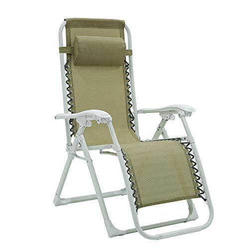 Sedia sdraio pieghevole esterno reclinabile - zero gravity con poggiatesta per il tuo relax (Bianco - tortora)
