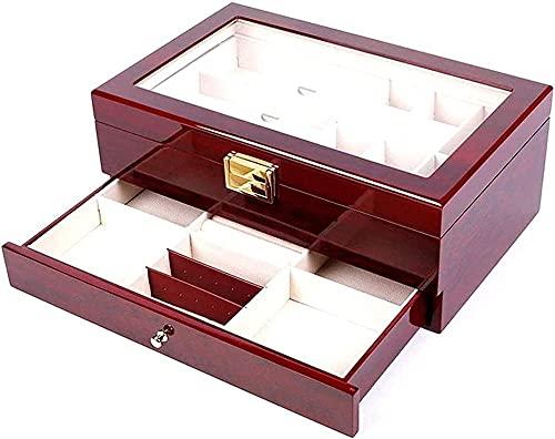 Caja de madera para relojes de doble capa, caja para 6 + 3 relojes, gafas, joyas, collar, caja de almacenamiento, accesorios de viaje, alta capacidad