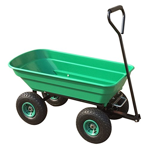 PowerKing Garden Tipping Truck 50L Tipper Wheel Barrow with 10' Pneumatic Wheels Fitted with Swivel Handle and Wheel Base Adjustment