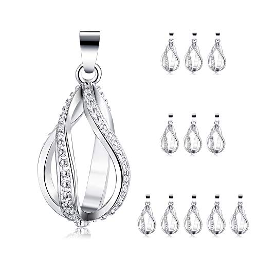 12pcs Silver Plated Pearl Bead Cage Water Drop Spiral Locket Pendants Essential Oil Diffuser Necklace Bracelet DIY Charms Jewelry Making with Lava Stone