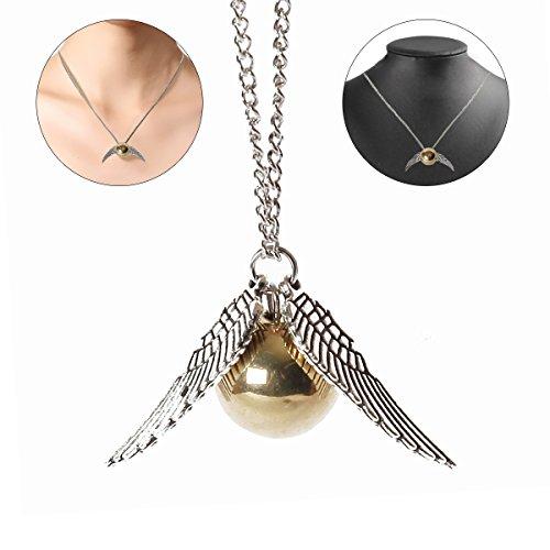 BUOCEANS Halskette Schnatz Goldkette, Harry Potter und die Heiligtümer des Todes goldenen Schnatz...