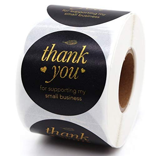 Muminglong Thank You for Supporting My Small Business Round Stickers, Thank You Sticker, Small Shop Sticker, Small Business, Packaging Sticker, Real Gold 500PCS, 1.5 inch, (Black Gold)
