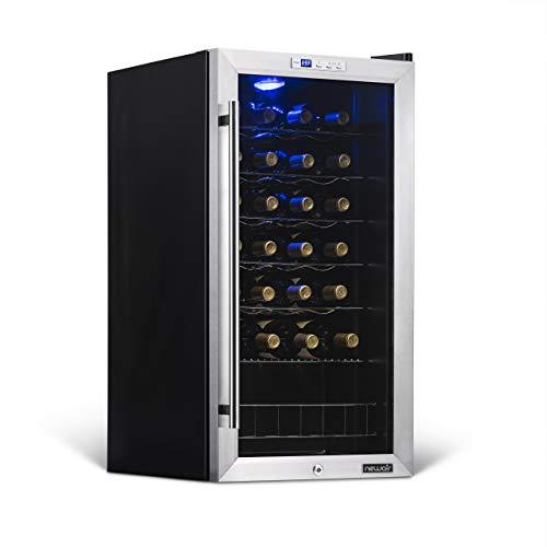NewAir AWC-270E - Enfriador de vino con 27 botellas de acero inoxidable con puerta de vidrio