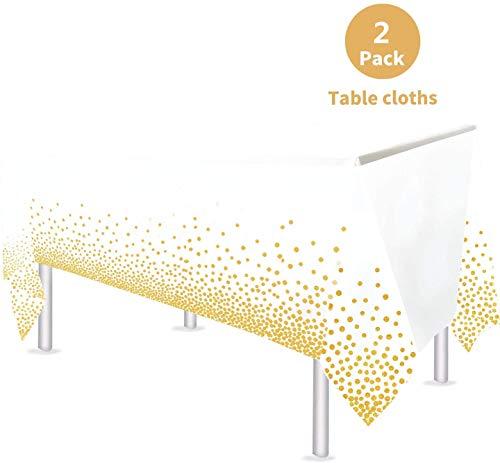 VAINECHAY 2pcs Plastik Party Tischdecken Tischdeko Geburtstag Partytischdecke Hochzeit Weihnachten Ostern Weihnachten Braut Shower Indoor Outdoor, 108*54in (137*274CM) (Weiß)