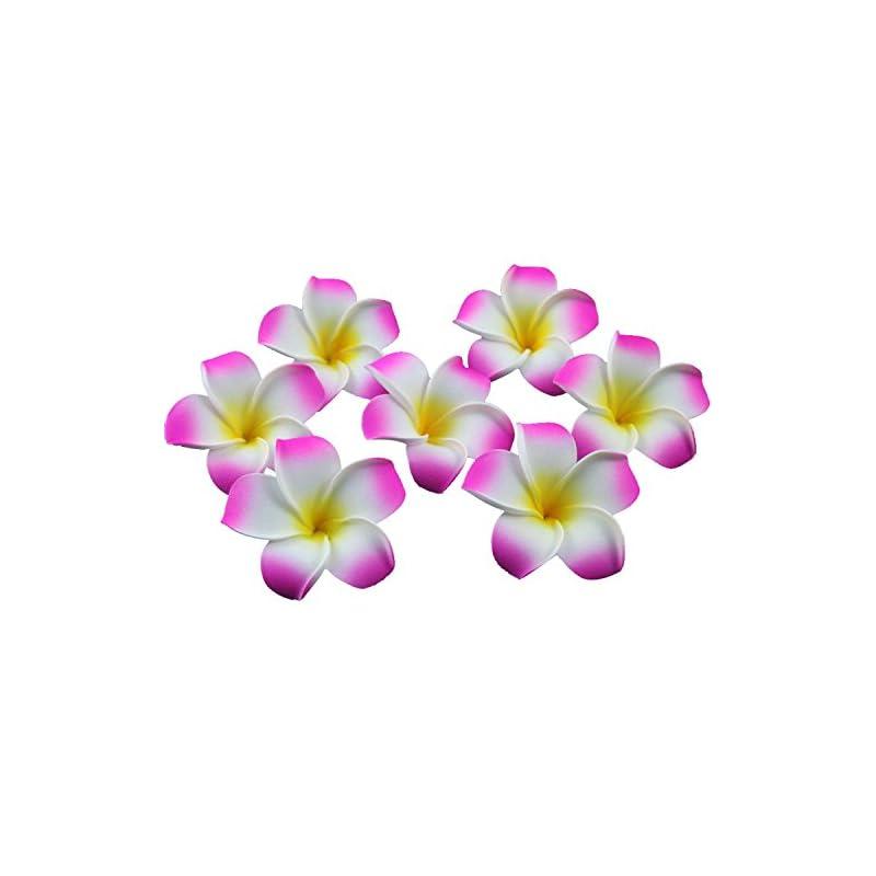 silk flower arrangements ewanda store 100 pcs diameter 1.6 inch artificial plumeria rubra hawaiian foam frangipani flower petals for weddings party decoration(hot pink)