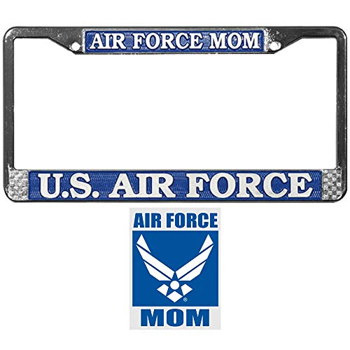 Air Force Mom License Plate Frame Bundle with Air Force Mom Car Decal