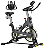 Sovnia Exercise Bike, Stationary Bikes, Fitness Bike with iPad Holder, LCD Monitor and Comfortable Seat Cushion, Whisper Quiet Indoor Cycling Bikes Perfect for Home Gym Workout (black)