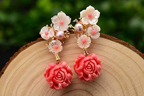 SALAN Orecchino A Goccia in Corallo Rosa in Argento Sterling 925 Orecchini Pendenti con Fiore in Conchiglia in Pietra Naturale Rosa Perla Bianca