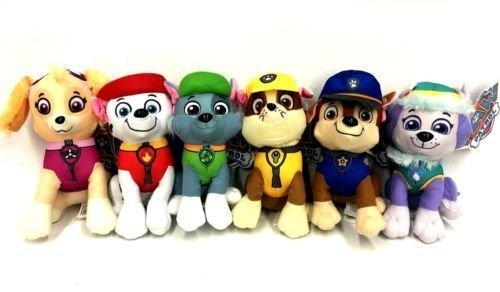 "Spin Master Paw Patrol Plush 6 Pcs Character Plush Set Marshall Chase Rubble Skye Rocky& Everest 6"" Plush Doll"