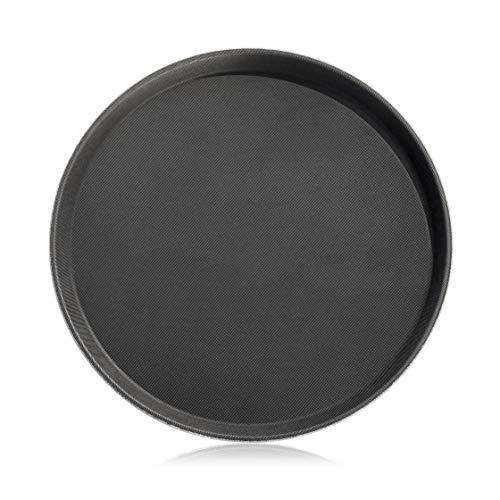 New Star Foodservice 24913 Restaurant Grade Non-Slip Tray, Plastic, Rubber Lined, Round, 11' Inch, Black