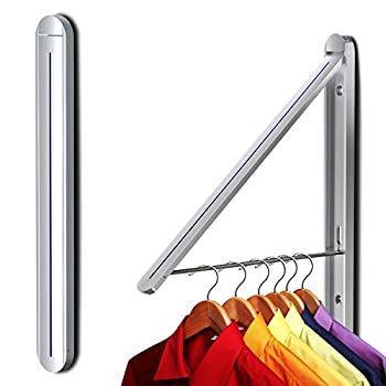 Ithywat Retractable Clothes Rack -Stealth Hangers  Wall Mounted Folding Clothes Hanger Drying Rack for Laundry Room Aluminum Wall Decoration Hangers Silver 1pcs