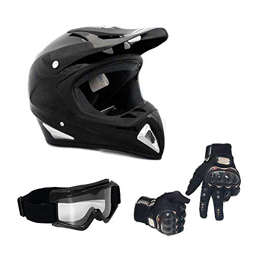 MMG 27 Combo Adult Motorcycle Off Road Helmet DOT, MX ATV Dirt Bike Motocross UTV, Large, Shiny Black with Riding Gloves and Goggles