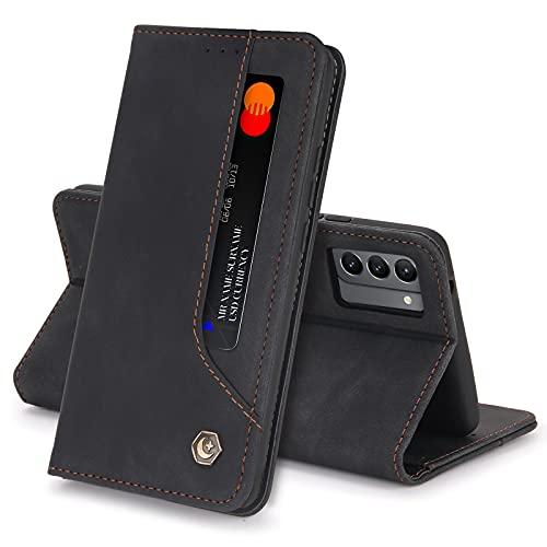Hülle für Samsung Galaxy S21 Ultra 5G/S30, Luxus PU Leder Brieftasche Handyhülle mit Magnetisch Flip Schutzhülle (S21u,Schwarz)