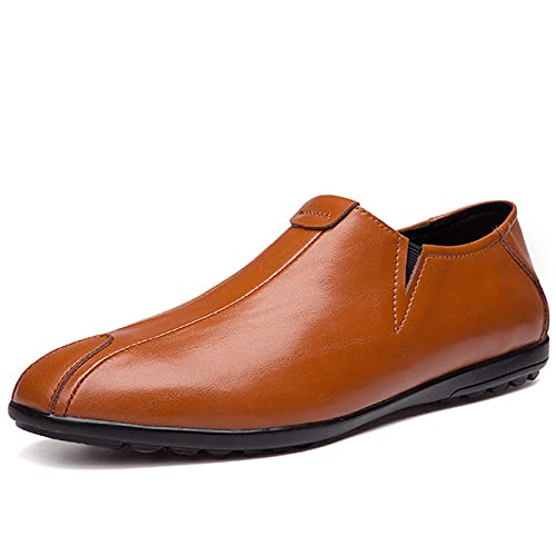 Classic Loafer Shoes for Man Genuine Leather Round Toe All-Match Business Put-ons Gentlemen Leather Flat Loafers Brown