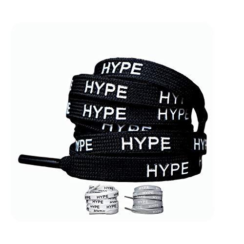 LaceHype   Baskets à Lacets Hype Convient pour Chaussures Ultra Boost et NMD en Blanc, Noir et Gris   Longueur 95 cm/80 cm   1 Paire de Baskets de qualité supérieure, Noir, 80 cm