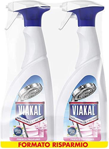 Viakal Detersivo Anticalcare Spray Fresco Profumo, Maxi Formato 2 Pezzi da 700 ml