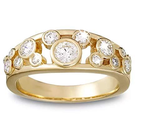 SLV Anillo con diseño de Mickey Mouse con diamantes de 5 unidades, para mujer, chapado en oro amarillo de 14 quilates, plata 925