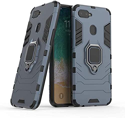 YES2GOOD Defender Rugged Hybrid Armour Kickstand D5 Ironman Hard Back Cover Case with Ring Holder Stand for Oppo A5 Blue