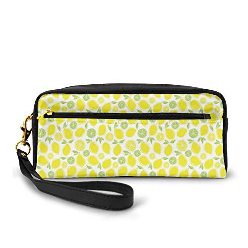 Pencil Case Pen Bag Pouch Stationary,Lemons And Lime Leaves Pattern Freshness Menu Organic Juice Healthy Food Concept,Small Makeup Bag Coin Purse