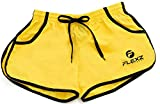 FlexzFitness Men's Solid Gym Workout Shorts - Fitted Bodybuilding Running Training and Jogging Shorts (5 Colors) Yellow