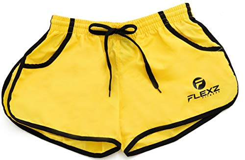 FlexzFitness Men s Solid Gym Workout Shorts - Fitted Bodybuilding Running Training and Jogging Shorts (5 Colors) Yellow