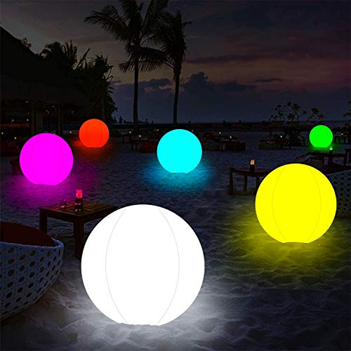 2 PCS 6-inch Light Up Beach Ball with Color Changing LED Lights 13 Dimmable Colors, 4 Modes for Home Bedroom Patio Pool Decorative Lighting