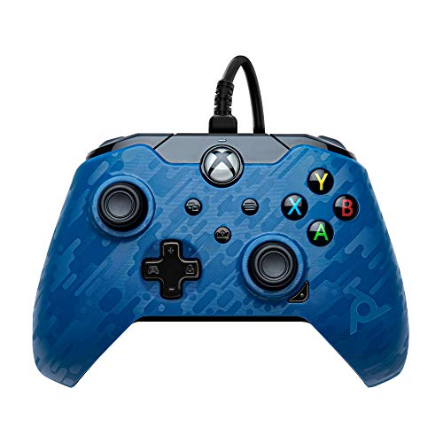 PDP Controller con Cavo Xbox One Series X, Blu (Camuflage)