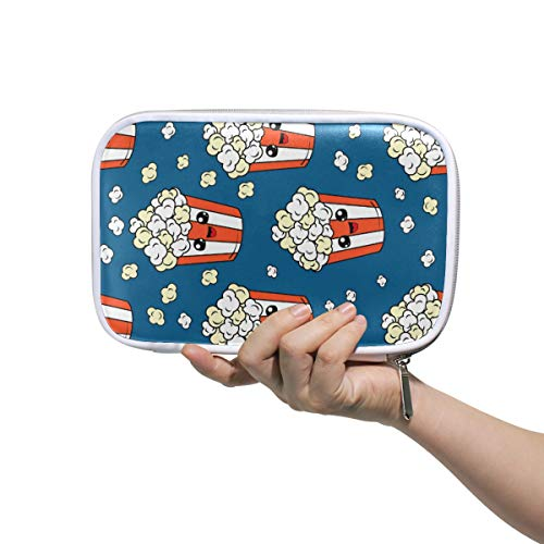 NASEN Cute Pop Corn Pencil Case Passport Pen Bags Cosmetic PU Leather Makeup Bag Accessories Travel Organizer for Women Girls