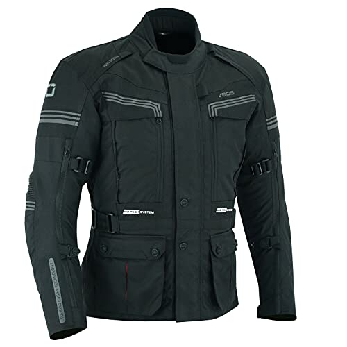BOSmoto motorradjacke mit protektoren herren textil, Touren, Wasserdicht, Belüftung (4XL)