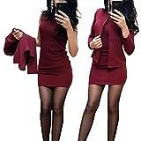 Minetom Mujer Otoño Invierno Vestido Lápiz y Chaqueta Conjuntos 2 Piezas Formal Fiesta Noche Cóctel Oficina Negocio Dress A Vino Tinto 38