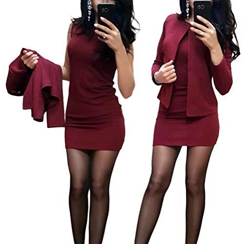 Minetom Damen Langarm Bodycon Mini Kleid und Jacke 2 Stücke Herbst Winter Cardigan Elegant Sexy Büro Party Cocktail Business Abendkleid Bleistftkleid A Weinrot 34