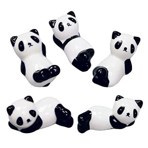 DOITOOL 5 Pezzi Bacchette in Ceramica Panda Resto Cremagliera Porcellana Cartone Animato Animale Posate Titolare Cucchiaio Forchetta Titolare Cena Decorazione della Tavola (Stile Casuale)