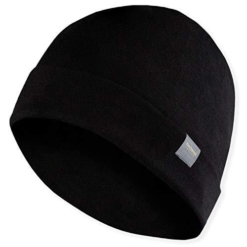 MERIWOOL Unisex Merino Wool Cuff Beanie Hat - Black