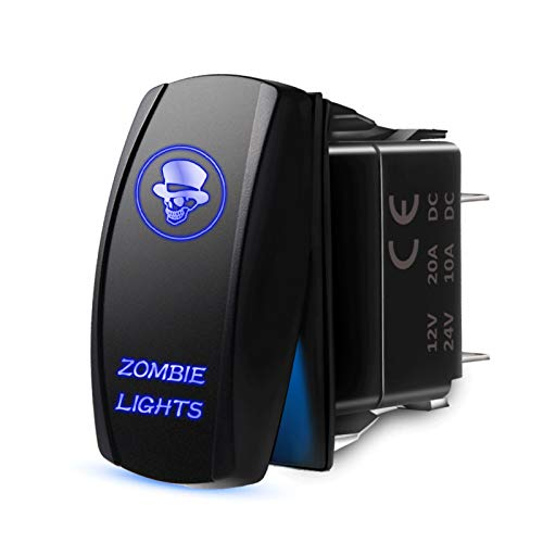XPOXx 5Pin Exclusivo Sport Toggle Interruptor con Azul ong-Off láser Zombie Luces símbolo Interruptor de balancín Accesorios para automóviles a Prueba de Agua (Color : with Blue LED Light)