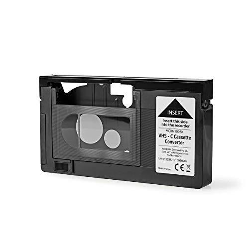 Nedis - VHS-C-Kassettenkonverter - VHS-C zu VHS - Plug-and-Play - AA-Batterie - Vorderen Teil öffnet Automatisch - Schwarz
