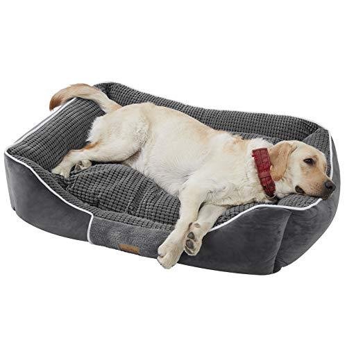 BingoPaw Cuna Perro Grande,Cama Antiestres Perro XXL Cama para Perros Viscoelastica Cama de Perro Desenfundable Cama Perros Impermeable Lavable con Cojín Suave Cómodo Color Gris 93.5 x 76 x 20cm