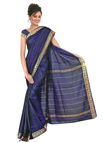 Trendofindia Trendofindia Fertig gewickelter Bollywood Sari Regenbogen Royalblau Gr. S bis XXL (S)