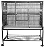 "Best Suited For: Finch, Canary, Parakeet, Cockatiel, Small Conure Exterior Dimensions: 32""x21""x63"" Interior Height: 35"" Includes: 2 wood perches & 2 feeder stations, 1 large front door for easy access, 1 breeder door Non-toxic, durable & safe powder ..."