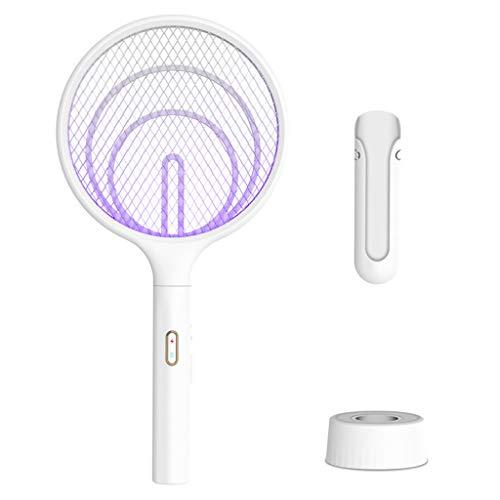 MagiDeal 3 i 1 hem handhållen elektrisk myggfälla flugsmälla USB-laddning, 3 000 volt vit