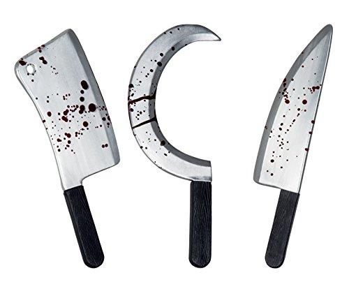 Arma in plastica Horror Knives 45 cm Occasioni Halloween, Horror Party, Zombie Night, feste a tema, spettacoli, saggi, recite, gdr, rpg, larp, cosplay Modelli assortiti: Falce,Machete,Mannaia. 1 arma assortita tra i 3 soggetti disponibili.