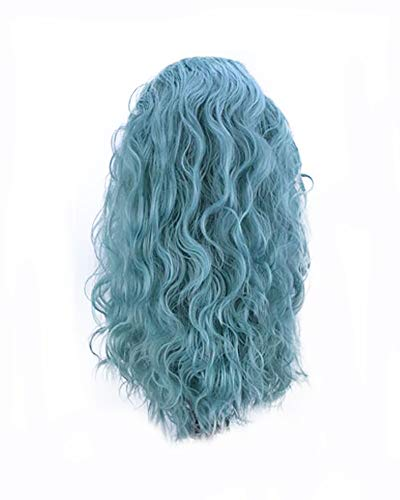 Side Part Pastel Blue Green Wigs Blend Color Synthetic Wigs for Women Festival Cosplay Party Drag Queen Replacement Wear Long Water Curly Hair None-Lace Wig 22 Inches