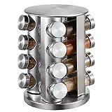 Portaspezie con 16 barattoli girevoli, portaspezie in acciaio inox, organizer per spezie con 16 barattoli vuoti in vetro, organizer per spezie da cucina