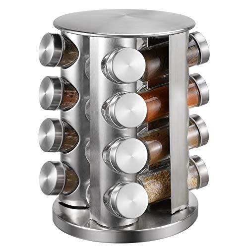 Kryddställ, 16 burkar roterande bänkskiva kryddtorn, rostfritt stål kryddorganisatör, kryddförvaring organisation med 16 tomma kryddburkar, fristående kryddförvaring arrangör för kök