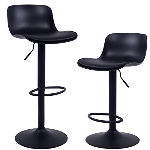 YOUNIKE Modern Design BarStools with Adjustable Height and 360° Rotation, Ergonomic Streamlined Polypropylene High Bar stools for Bar Counter, Kitchen and Home (Set of 2, Black)
