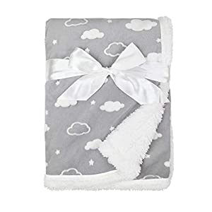 American Baby Company Heavenly Soft Chenille Sherpa Receiving Blanket, 3D Gray, 30″ x 35″, for Boys and Girls