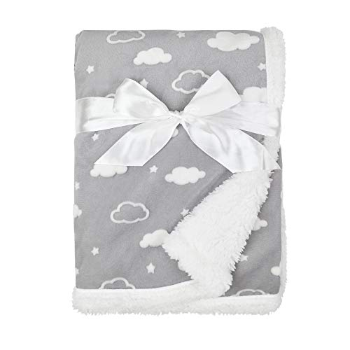 American Baby Company Heavenly Soft Sherpa/Chenille Receiving Blanket, 3D Cloud Grey, 30