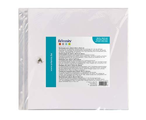 Artemio VIAP01 10 Pochettes en Plastique vides pour abum Photo pour Scrapbooking 30.5cm x 30.5cm-3 Perforations, Multicolore, 30,5 x 0,7 x 30,5 cm