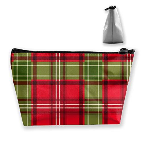 Bolsa de cosméticos de Viaje portátil de Vector de tartán de Navidad para Mujeres niñas