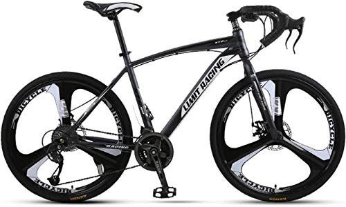 Commuter City Road Bike, Hommes Route, 26 Pouces 27 Speed Trek Route, City High Carbon Steel Bike vélo, Double Disque Freins vélo étudiant de Cyclisme sur Route,Unisexe (Color : Grey)